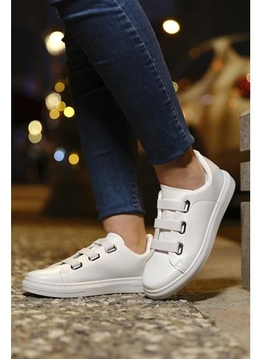 Oksit Zeina Lastik Bagcık Detaylı Kadın Sneaker Beyaz